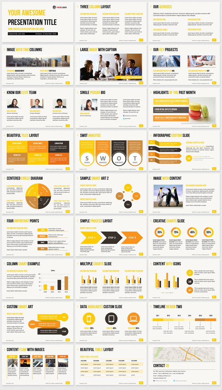 Ultimate powerpointtemplates template Yellow color