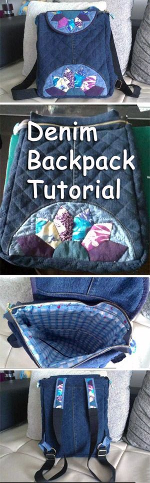 Recycle Jeans/Denim Backpack Tutorial. Джинсовый рюкзак http://www.handmadiya.com/2015/08/recycle-jeansdenim-backpack-tutorial.html