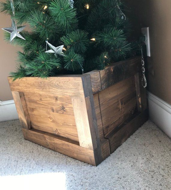 Folding Slim Tree Christmas Tree Box Stand Wood Tree Skirt Etsy Slim Christmas Tree Christmas Tree Box Christmas Tree Box Stand