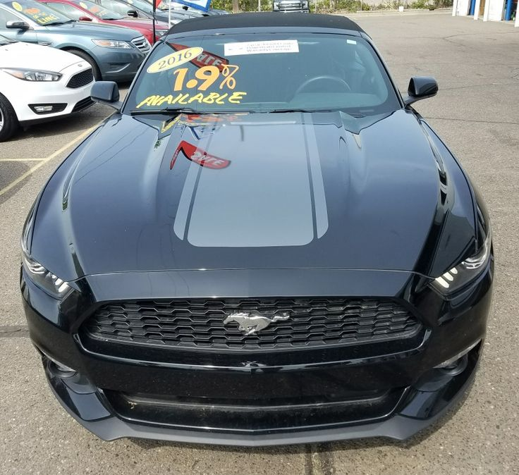 Rally stripes on the hood and trunk on a ford mustang in avery grey metallic for