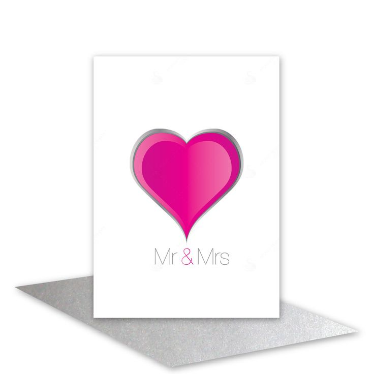 Wedding day card Mr & Mrs card Wedding congratulations Engagement contempary pink heart card for Bride and Groom add personalised message (4.50 AUD) by stuartconcepts