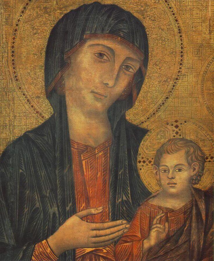Маэста. Деталь.Чимабуэ. 1285-86 гг. Галерея Уффици.