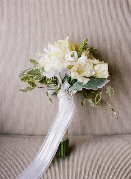 New Orleans French Quarter Wedding White Fabric Bouquet Wrapping