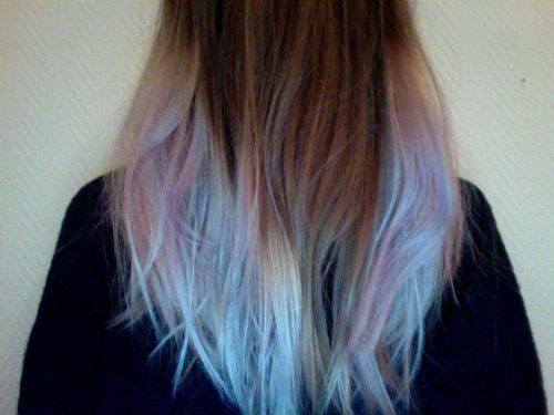 Blue pink rainbow ends of hair.