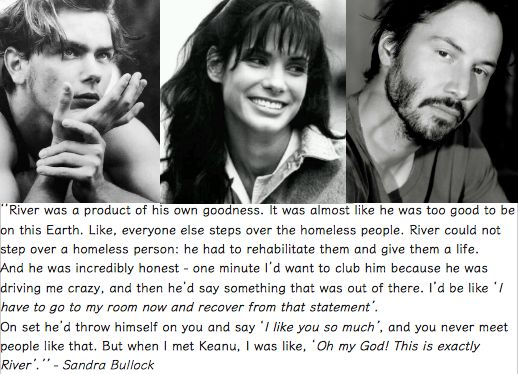 Sandra Bullock on River Phoenix & Keanu Reeves