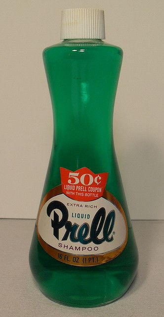 """PRELL Shampoo 1960s: the """"pearl"""" at the bottom of their bottle of shampoo just like the awesome dinner plates that came in a box of laundry detergent contrast the striking difference in the excellence of those days and the mediocrity of today."""