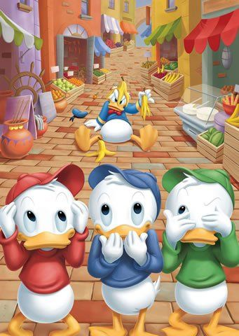 Donald is in Minnie goes Hollywood & so are his nephews Huey Dewey & Louie they even take part in the movie Witch Busters where a witch turns children into mice.