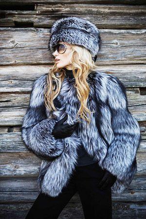 Silver fox fur jacket and hat.  #silverfox #furonline #furfashion