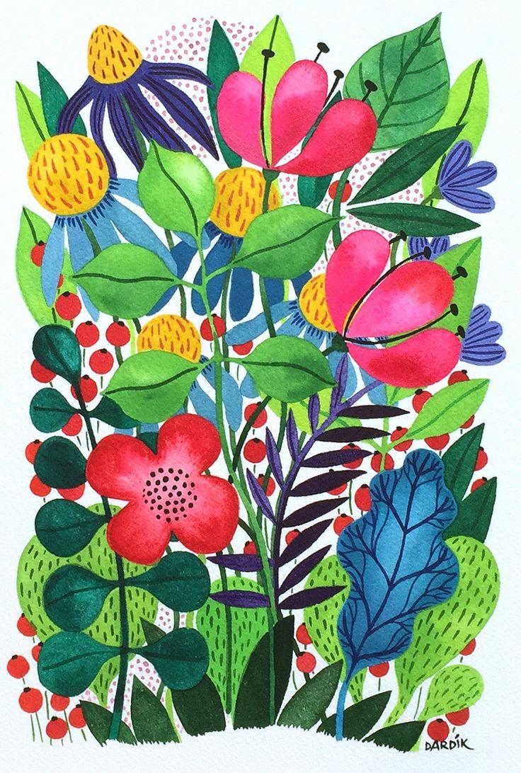 Summer Garden | Original watercolor by Helen Dardik