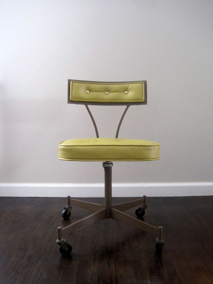 mid century modern 1950s rolling desk chair 16000 via etsy - Mid Century Modern Furniture Desk