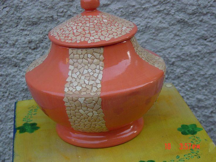 porta oggetti con mosaico guscio d'uovo