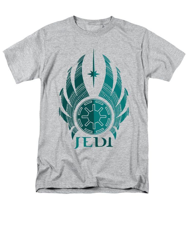 Jedi Men's T-Shirt (Regular Fit) featuring the mixed media Jedi Symbol - Star Wars Art, Blue by Studio Grafiikka