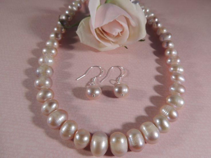 Pink natural pearl sterling silver necklace and earring set