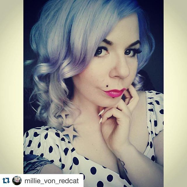 #Repost @millie_von_redcat ・・・ Now it's #blue  I just love these #pastel #haircolors  I think this is even better than the pink one. I can't decide, maybe next week it's going to be something different  Who knows  #hermansamazinghaircolor  #vicky #cybershop #bluehair #curlyhair #pinup #pinupstyle #vintage #50s #polkadots #girlswithtattoos #pinklipstick #hermanshaircolor #hermanprofessional #vegan #unique @hermanshaircolor @cybershopinsta