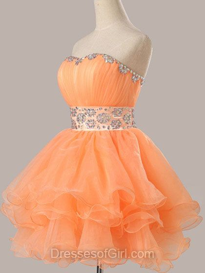 Cheap Short Orange Homecoming Dresses - Prom Dresses 2018