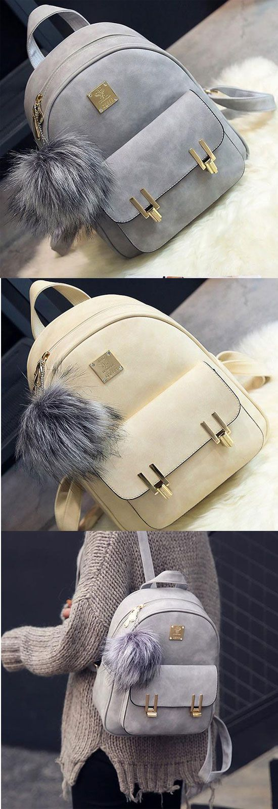 Which color do you like? Fashion Frosted PU Zippered School Bag With Metal Lock Match Backpack #lace #canvas #school #backpack #bag #college #student #fashion #rucksack #lady