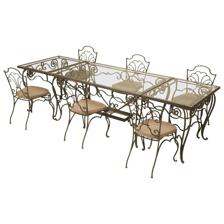 Vintage French Garden Table and Chair Set | From a unique collection of antique and modern patio and garden furniture at https://www.1stdibs.com/furniture/building-garden/garden-furniture/