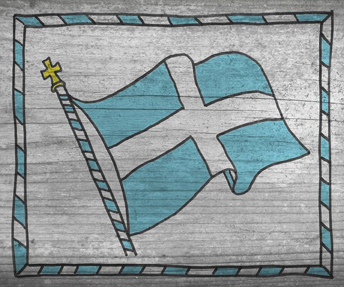 Old Flag of  Greece 240 mm x 200 mm