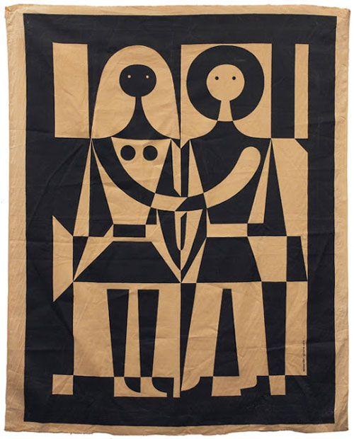 Black and White -  for Herman Miller Alexander Girard, 1971 vintage tapestry