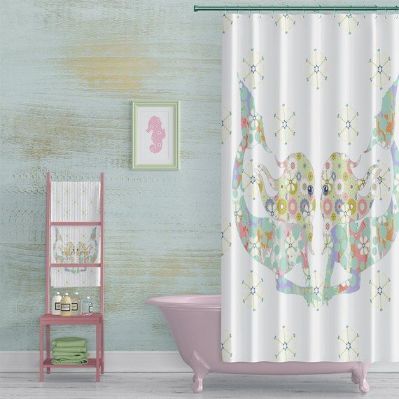 Mermaid Shower Curtain Beach House Bathroom Decor Aqua And Pink
