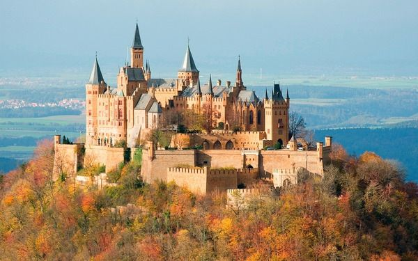 Hohenzollern Castle - built on the top of Mount Hohenzollern, around 30 miles south of Stuttgart, Germany. The castle was built in 11th century for German Emperors and Prussian Rulers. The building was destroyed in 1423 but than finally rebuilt in 1461.