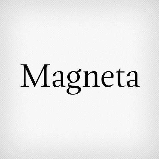 Magneta by Neil Summerour. This typeface was made for editorial settings, from headlines to children's books.