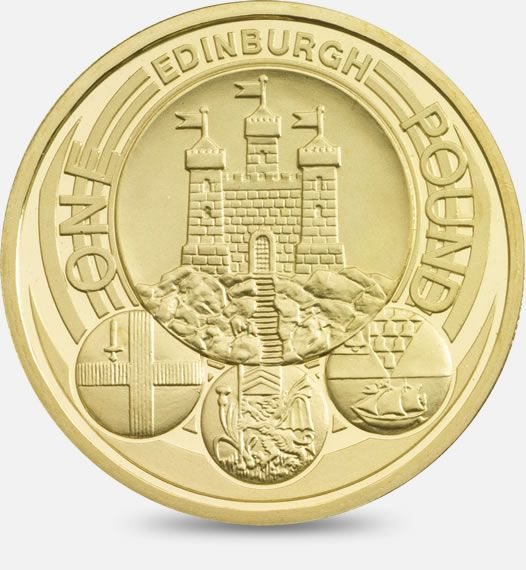 2011 £1 (One Pound) Coin featuring a depiction of the official badges of the capital cities of the United Kingdom, with the badge of Edinburgh being the principal focus #CoinHunt