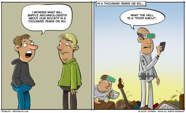 Just think of all the weird crap they'll find in the future! #tech #humor #emojies #archaeology (by Scott Johnson)  http://www.myextralife.com/comic/future-regrets/