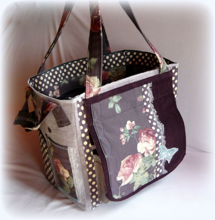 Handmade by Judy Majoros - Purple butterfly vintage scrapbooking tote-bag. Recycled bag. Materials:corduroy-cordura-rubber strap-velcro-lace-button-bead-leather-polka dots silk...
