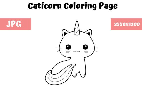 Caticorn Coloring Page For Kids Graphic By Mybeautifulfiles Creative Fabrica Coloring Pages For Kids Coloring Pages Mermaid Coloring Pages