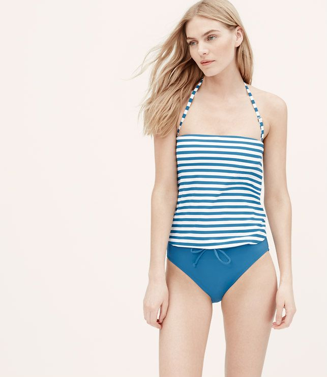 Thumbnail Image of Color Swatch 1787 Image of LOFT Beach Striped Blouson One Piece Swimsuit