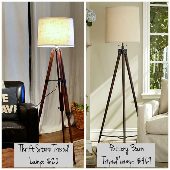It's easy to make a tripod lamp. Here's how to make one from a surveyors tripod found at a thrift store! / dogsdonteatpizza.com: