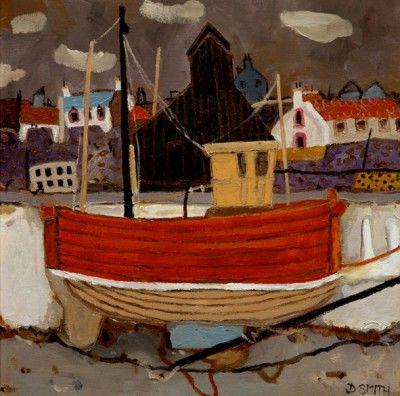Scottish Artist David SMITH-The Crabber Moray