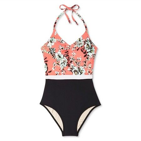 Women's Vintage Floral Halter Color Block One Piece Swimsuit - Coral - Sea Angel : Target