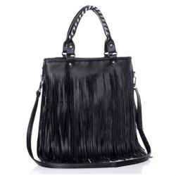 $15.37 Casual Women's Tote Bag With Black and Tassels Design