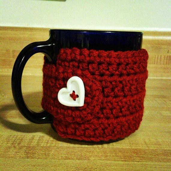 Valentine's Day crochet coffee cozy