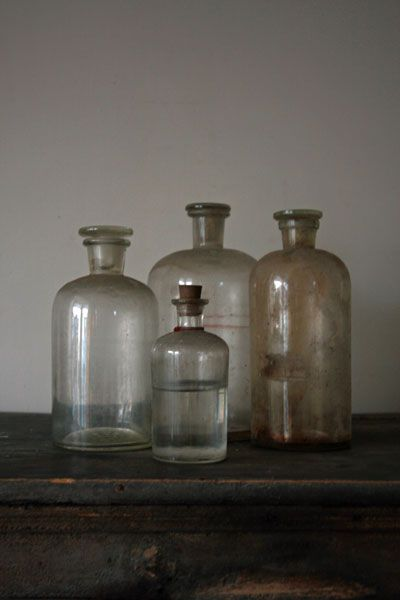recycled old bottles; vintage beauty