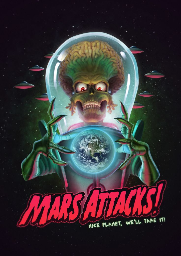 Mars Attacks Poster - Fan Art, Guilherme Gusmão de Freitas on ArtStation at https://www.artstation.com/artwork/vEZeY