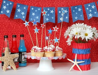 Lots of cute ideas but love the star cupcake decorations - they look like sparklers! : patriotic party decorating ideas - www.pureclipart.com