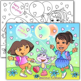 DORA THEME * CUSTOM BIRTHDAY PARTY COLORING PAGE