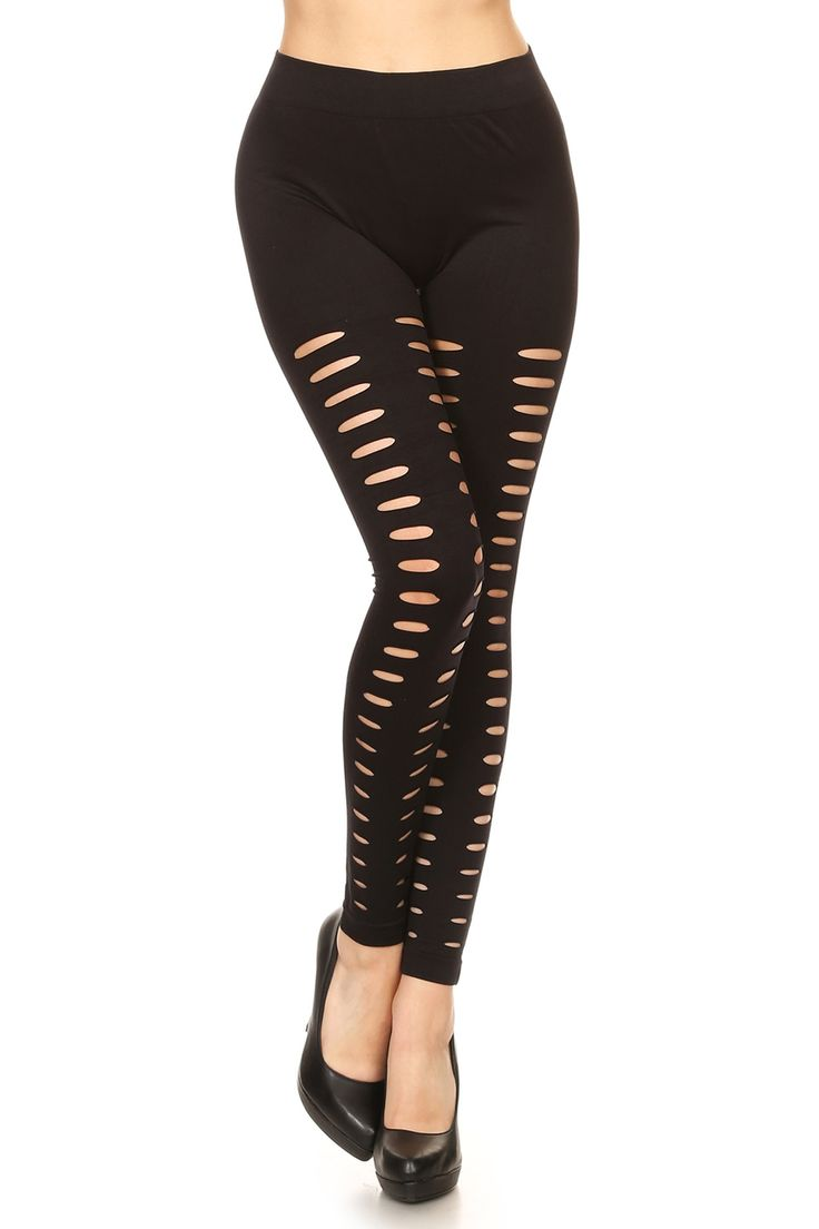 Introducing our Front Duo Slashed Black Leggings, a sexy and versatile full length leggings style that will add a fun flirty style to your fashion wardrobe.  This leg fashion piece is a nylon spandex fabric base that has slashes on the front side of each leg.  The look is an easy to mix style that is also wonderful for light workouts.