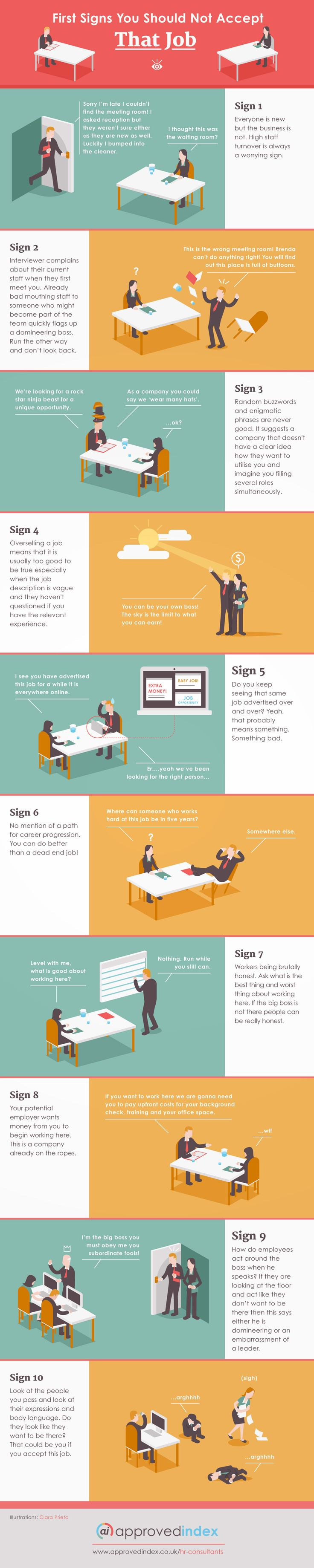 Ten hilarious signs that you should not take that job (Infographic)
