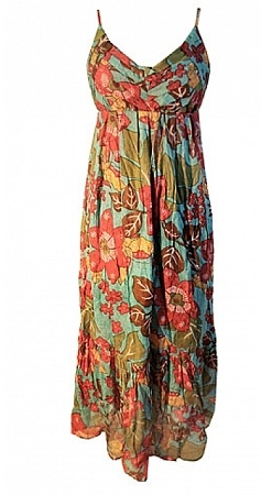 Maxi dress. Love the fabric and neckline. Pair with a denim jacket