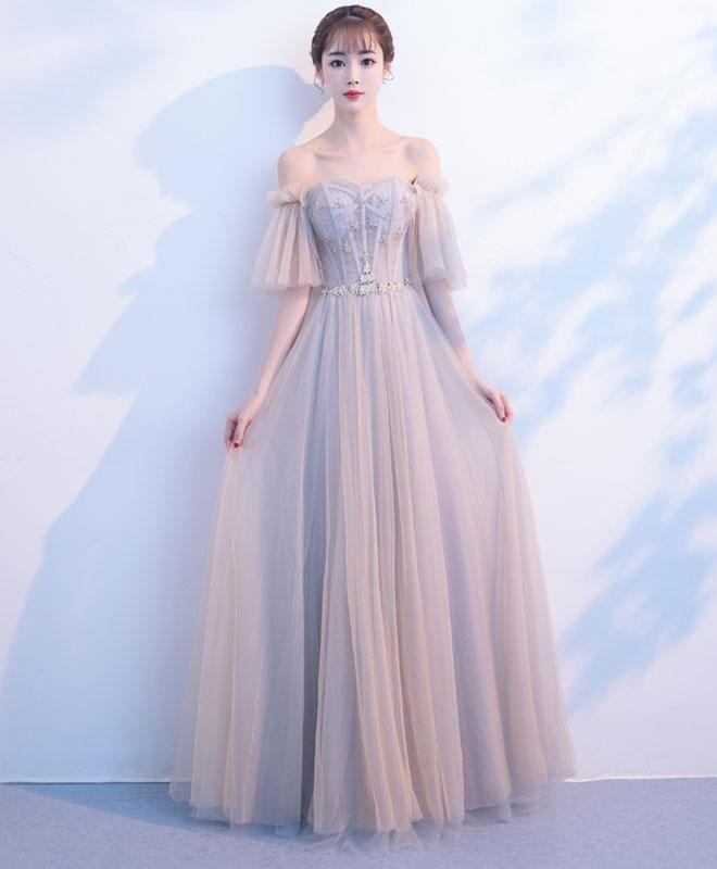 Langes Ballkleid aus hellem Champagner-Tüll, Abendkleid