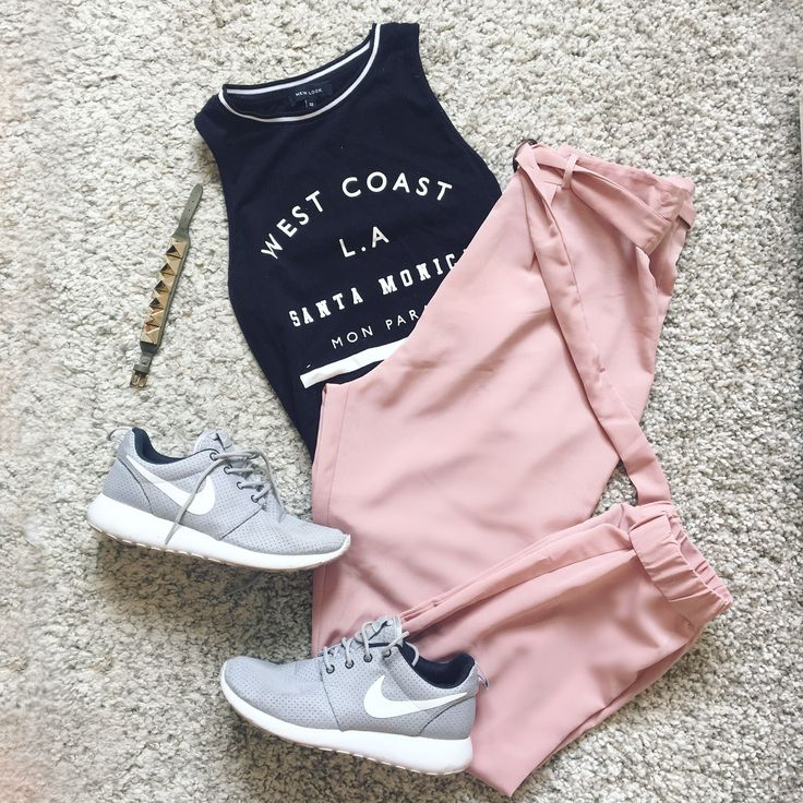 Dusty Pinks and Grey.  Cool and casual tailored joggers with bodysuit, accessorised with trainers and Valentino cuff! Sweet.