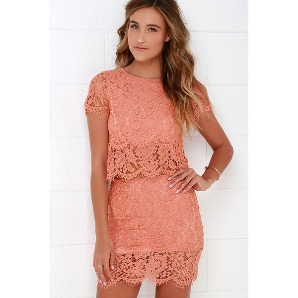 Turn Back Time Peach Lace Two-Piece Dress ($62) ❤ liked on Polyvore featuring dresses, orange, two piece lace dress, lulu dresses, long dresses, two piece dresses y peach dress