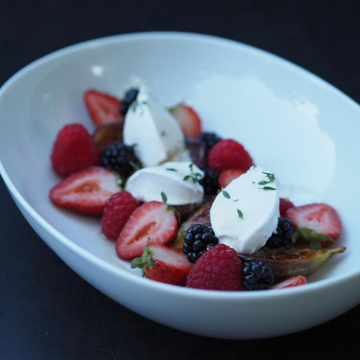 """The recipe for this grilled fig, Berry and coconut labneh dessert with vanilla rosewater syrup is coming very soon!"""