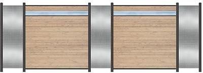 Komplett-Set für 5,64 Meter WPC Steckzaun Sichtschutz Zaun sand/Edelstahl