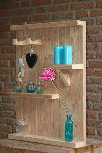 Wandplank gemaakt van steigerhout. In verschillende maten te bestellen. Zowel voor buiten als binnenshuis - by JohnnyBlue.nl