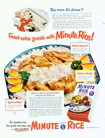 Minute® - Vintage Print Ads - Lemon rice with broiled fish.